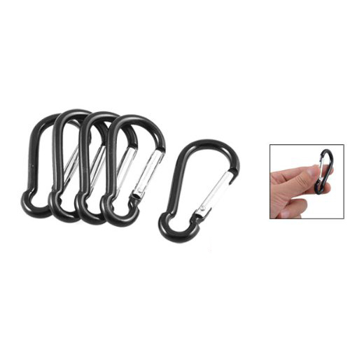 5 Pcs Black Silver Aluminum Alloy Spring Gate Clip Carabiner Hook