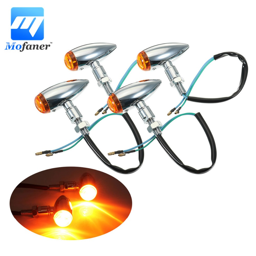 2/4 Pieces Chrome Motorcycle Bullet Turn Signal Indicator Light Lamp For Harley Cafe Racer For Honda For Kawasaki
