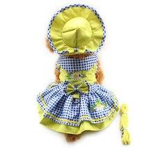 Armi shop Blume Muster Hund Kleider Prinzessin Kleid Hunde 6071055 Pet Liefert (Kleid + Hut + Höschen + Leine = 1set
