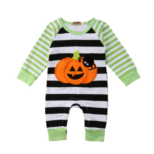 Emmababy Halloween Baby Boy Girls Pumpkin Romper Long Sleeve Striped Jumpsuit Cotton Pajamas Outfits