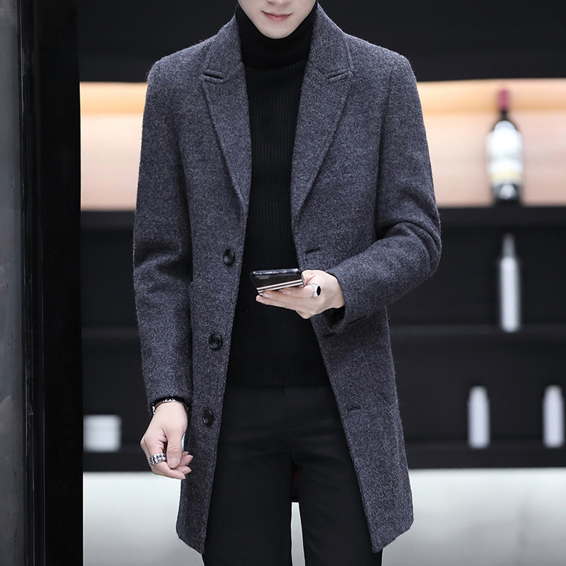 CLASSDIM Men Warm Winter Trench Coat Long Outwear Button Male Casual Slim Windbreaker