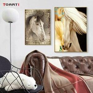 Image 4 - Animali Arte Della Parete Immagini Golden Horse Stampe HD Poster Moderna Vivid Pittura Della Tela di canapa Per Soggiorno camera Da Letto Della Decorazione Della Casa