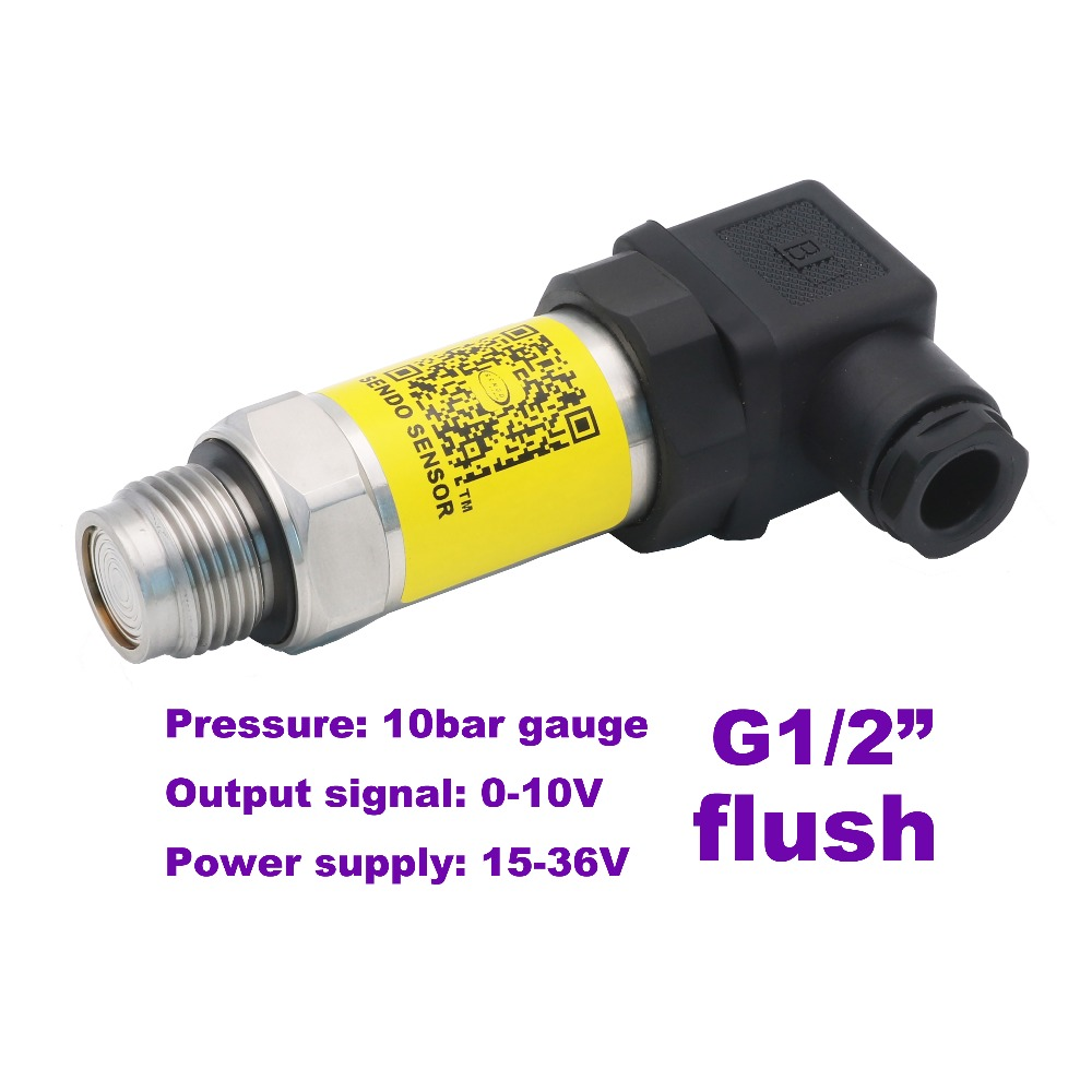 0-10V flush pressure sensor, 15-36V supply, 1MPa/10bar/150psi gauge, G1/2 flush, 0.5% accuracy, stainless steel 316L diaphragm 0 10v flush pressure sensor 15 36v supply 5mpa 50bar gauge g1 2 0 5