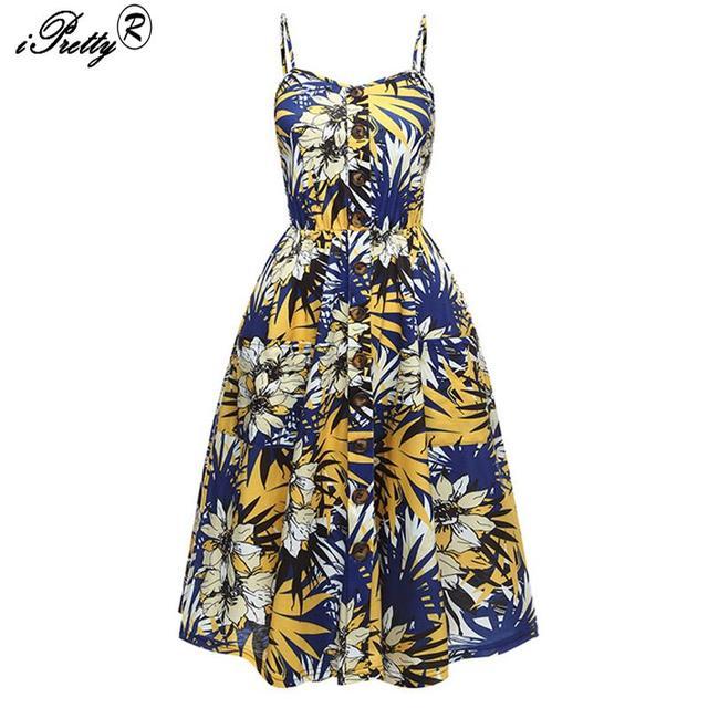 388ba11d7ff Boho Floral Print Summer Dress Women Tube Top Spaghetti Strap Midi Dresses  Female Backless Single-breasted Sexy Dress