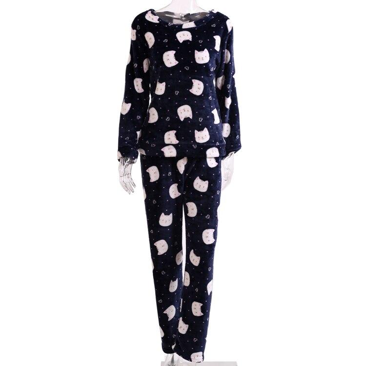 Image 5 - 2019 Autumn Winter Women Pajamas Set Sleep Jacket Pant Sleepwear Warm Nightgown Female Cartoon Bear Animal Pants Sleepwear-in Pajama Sets from Underwear & Sleepwears on AliExpress