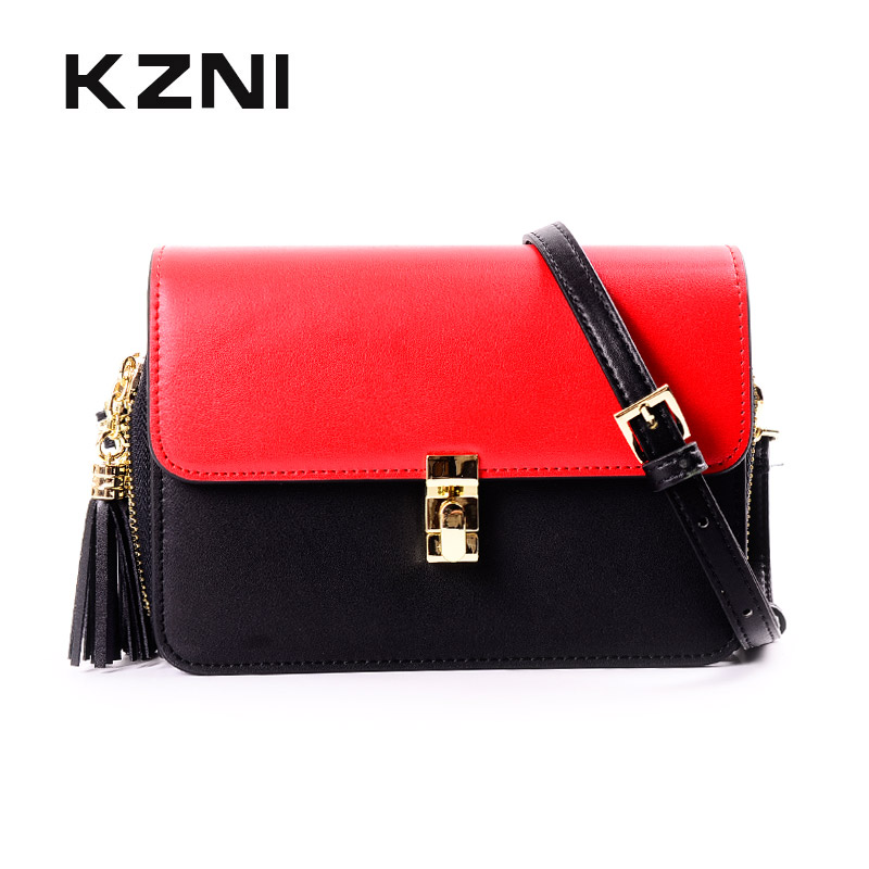 KZNI Women Genuine Leather Handbags for Girls Leather Shoulder Bag Female Small Ladies Purse Sac Femme Bolsa Feminina 9034 kzni genuine leather bag female women messenger bags women handbags tassel crossbody day clutches bolsa feminina sac femme 1416