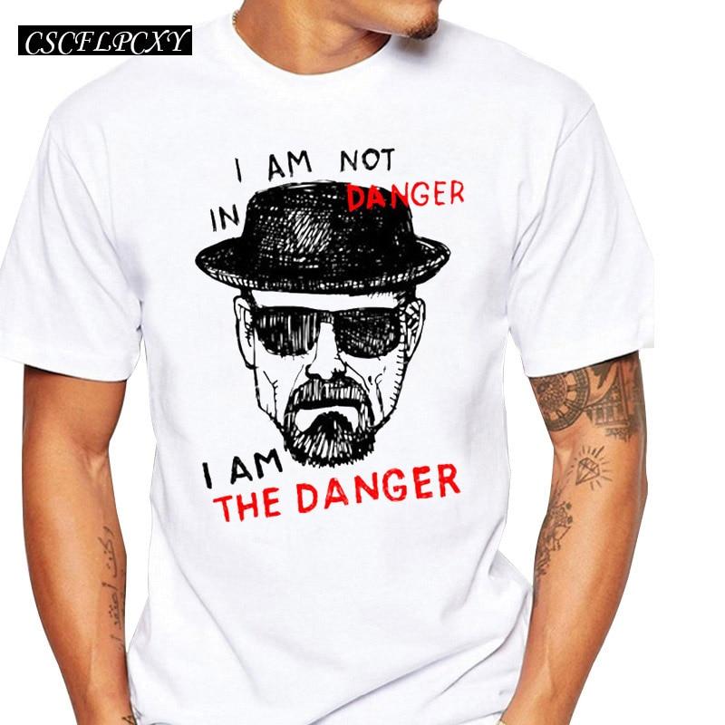 Newest Men fashion Breaking Bad t-shirt Heisenberg Iam the denger retro printed hipster tops short sleeve casual tee
