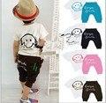 Лето дети смайли дизайн комплект мальчик короткий рукав футболки с брюки 2 шт. костюмы
