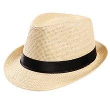 Hombre de paja hatTrendy Playa Sol paja panamá Jazz sombrero de vaquero  sombreros Fedora gángster tapa sombrero verano Mujer som. 051315ce426