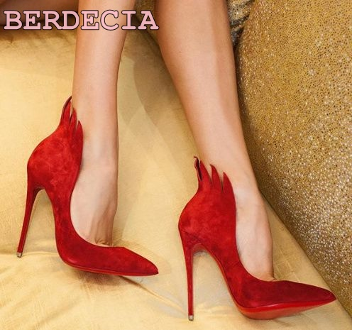 ФОТО red suede leather jagged decoration pumps pointed toe shallow cut shoes newest for women spring summer shoes unique design pumps