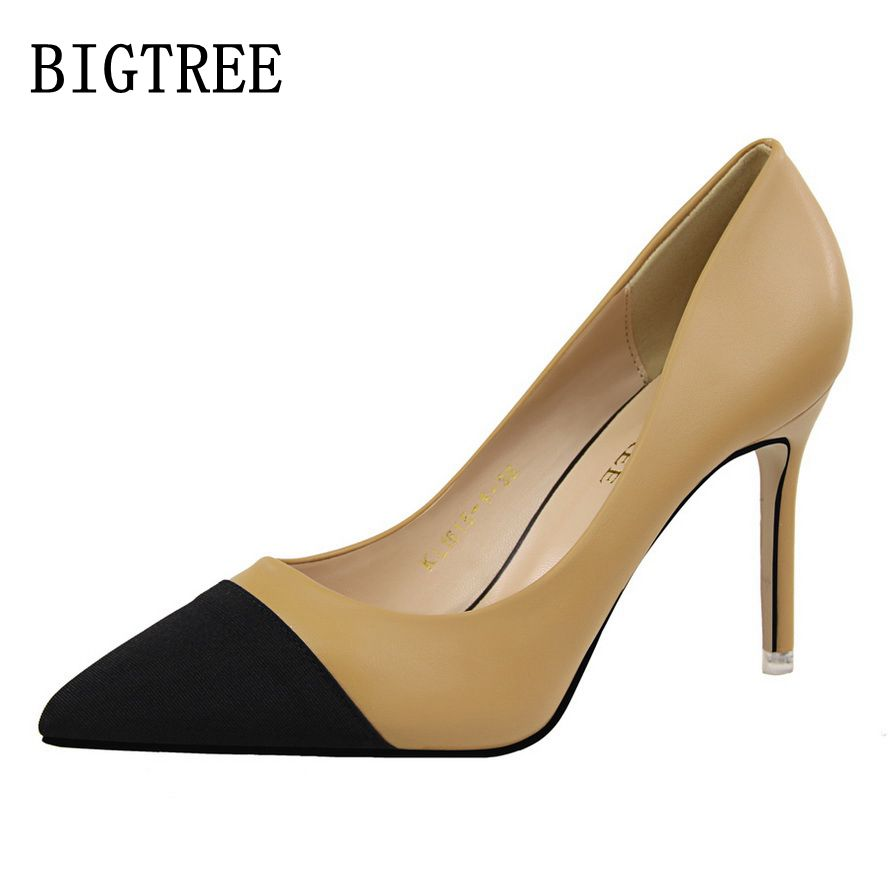 BIGTREE Spring women's shoes simple wild OL fashion high-heeled shoes thin sexy with shallow mouth pointed lady shoes size34-39 2016 spring new fashion women hot sale nightclub sexy fine with platform high heeled shoes ol shoes baok 8e36