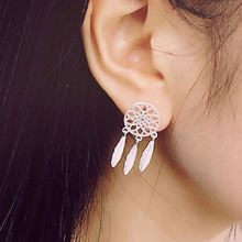 New Fashion Silver plated Bohemia Nationality Feather Dream Catcher Dreamcatcher Drop Earrings For Women Jewelry High Quality