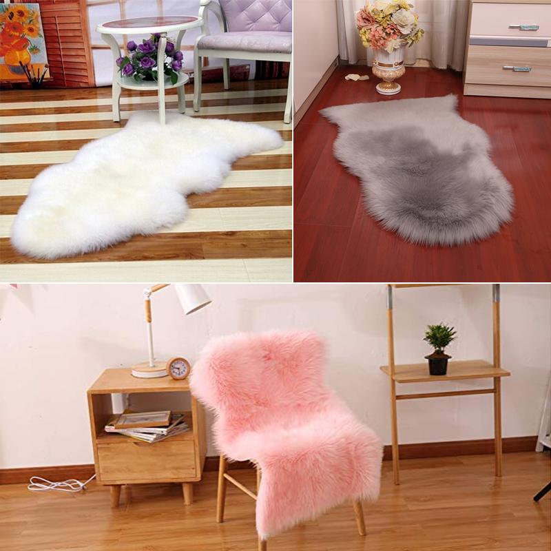 1pc Fluffy Sheepskin Rug Soft Faux Fur