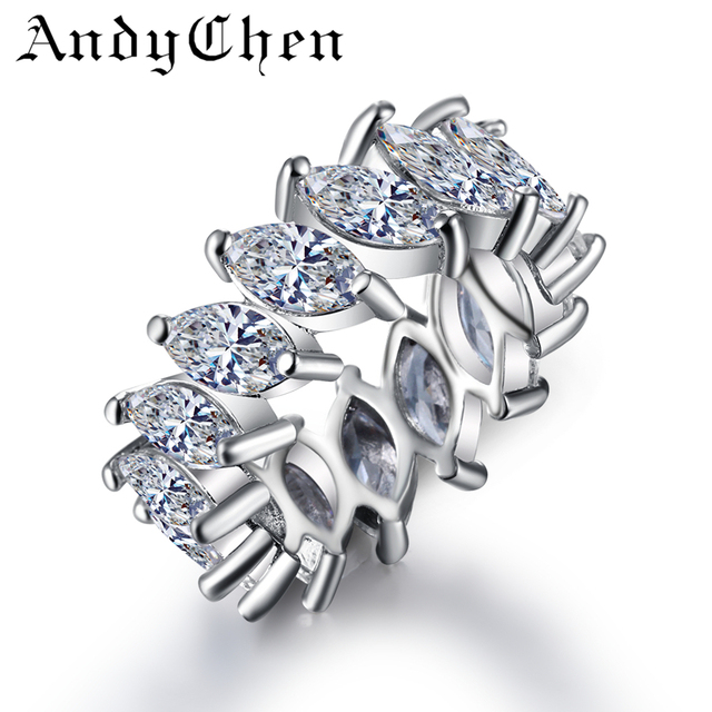 AndyChen Round Silver Color Vintage Wedding Rings for Women Luxury Crystal Jewelry Bijoux Femme Bague Accessories ASR242