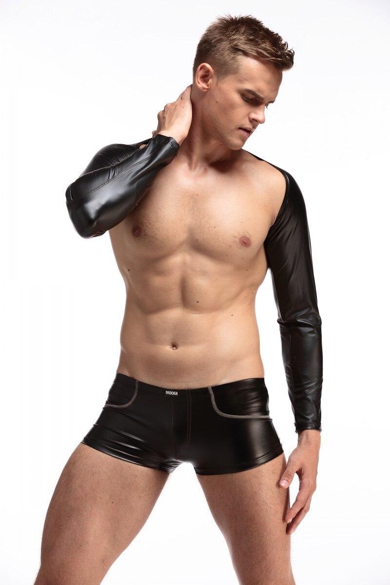 1 Satz Top + Boxer Sexy Männer Pu Kunstleder Langarm Bodysuit Catsuit Body Anzüge Dj Homosexuell Club Dance Tragen Fx1035