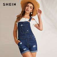 SHEIN Navy Ripped Detail Rolled Hem Denim Pinafore Rompers Womens Jumpsuit Summer Stretchy Casual Straps Overall Playsuit