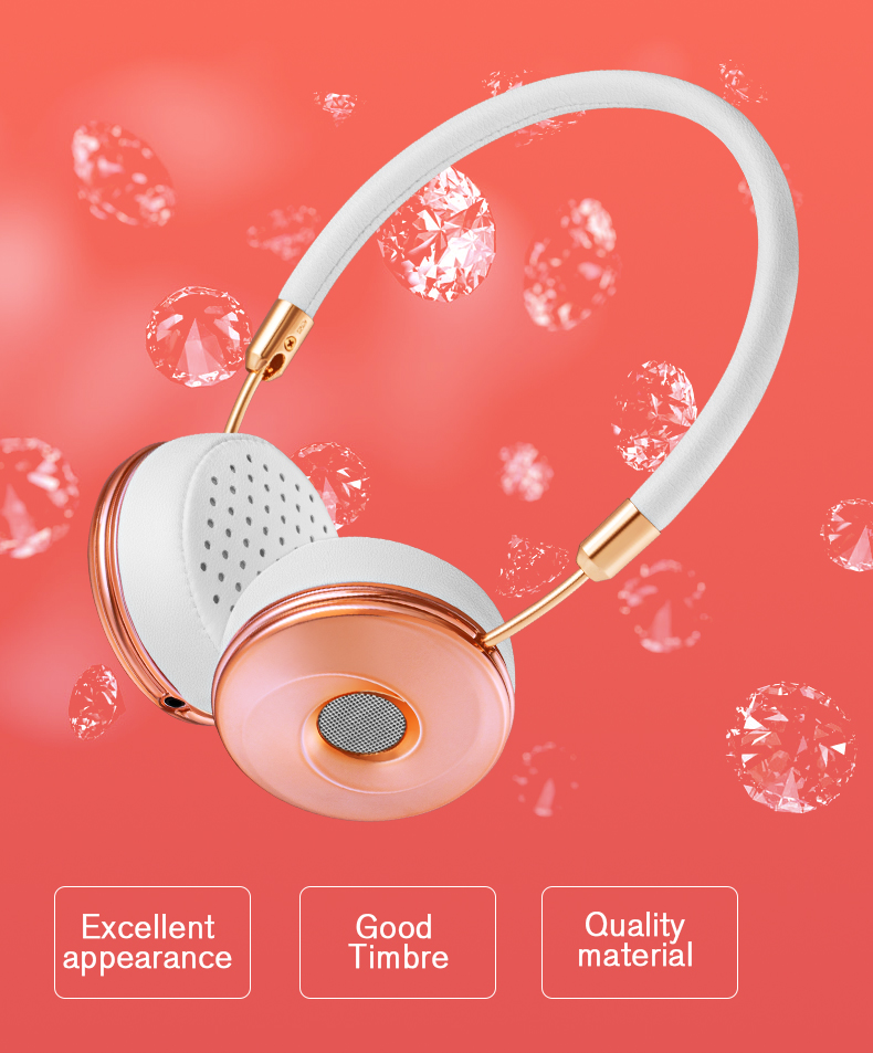 Liboer Headphones Wired On-ear Stereo Headphones for Mobile Phone Best Foldable Headset High Quality Rose Gold Headphone _02