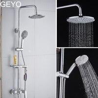 GEYO 3 modes ABS plastic Bathroom shower head big panel round Chrome rain head Water saver Classic design G1/2 rain showerhead