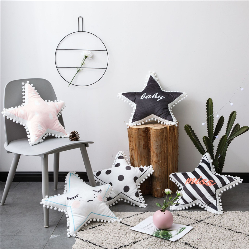 Lovely Star Shape Cushion Pillow Kids Room Decoration Baby Calm Sleep Dolls Plush Toys Nordic Style Child Gifts Sofa Home Decor