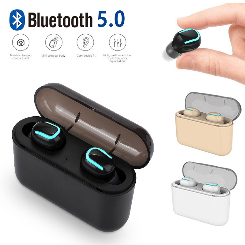 Bluetooth 5.0 <font><b>TWS</b></font> Wireless Bluetooth Earphone Handsfree Headphone Sports Built-in Mic with Charging Box for Smart Phone image