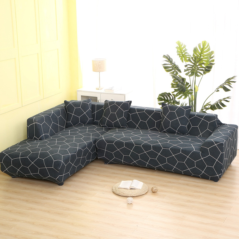 2 pieces Covers for L Shaped Sofa Living Room Corner Sofa Covers Sectional  Couch Slipcover Stretch Elastic Spandex Home Textile