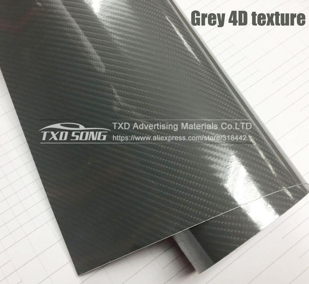 Высокое качество ультра-синий глянец 5D углеволоконная виниловая Обёрточная бумага 4D текстура супер глянцевая 5D углерода Обёрточная бумага s с 10/20 Вт, 30 Вт/40/50/60X152 см - Название цвета: Grey 4D texture