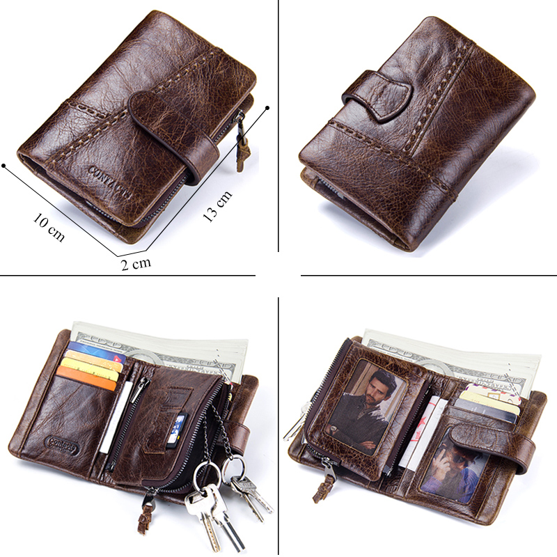 CONTACT'S Casual Men's Genuine Leather Short Wallet Hasp Design Key Holders Clutch Purse With Zipper Pouch Wallet Gift For Men 2