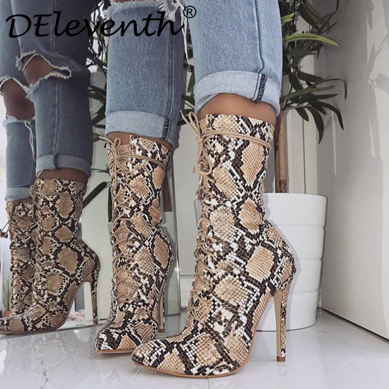 DEleventh/кожаные модные ботильоны женская обувь под змеиную кожу с острым носком на шпильке Обувь на высоком каблуке botas mujer botte femme большой