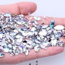 7 г, 600 шт, 7 размеров, акриловые стразы в форме глаз, кристалл AB, плоская задняя сторона, Стразы для ногтей, 3D, не исправление, украшение для ногтей, инструмент для самостоятельного изготовления