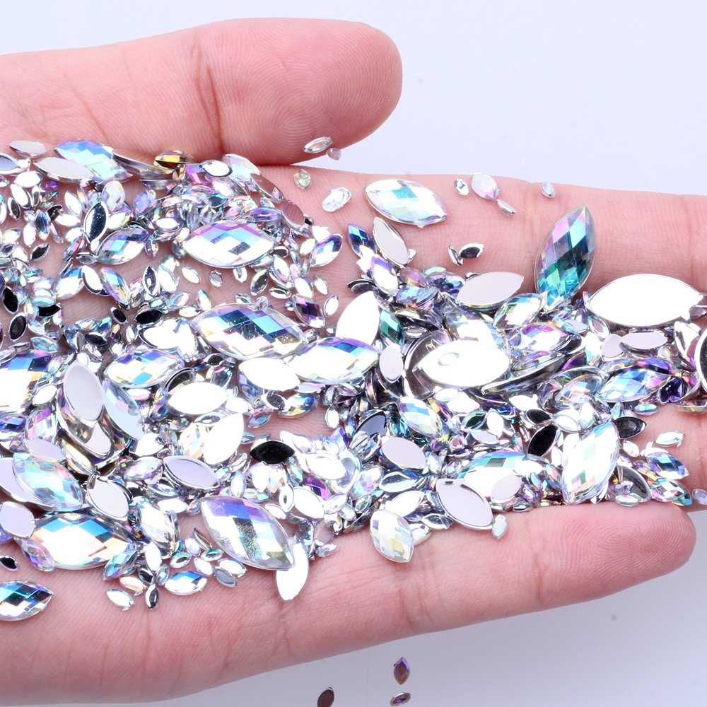 7G 600PCS 7 Sizes Acrylic Rhinestones Eye Shape Crystal AB Flat Back Nail Rhinestone 3D Non HotFix Nail Art Decoration DIY Tool