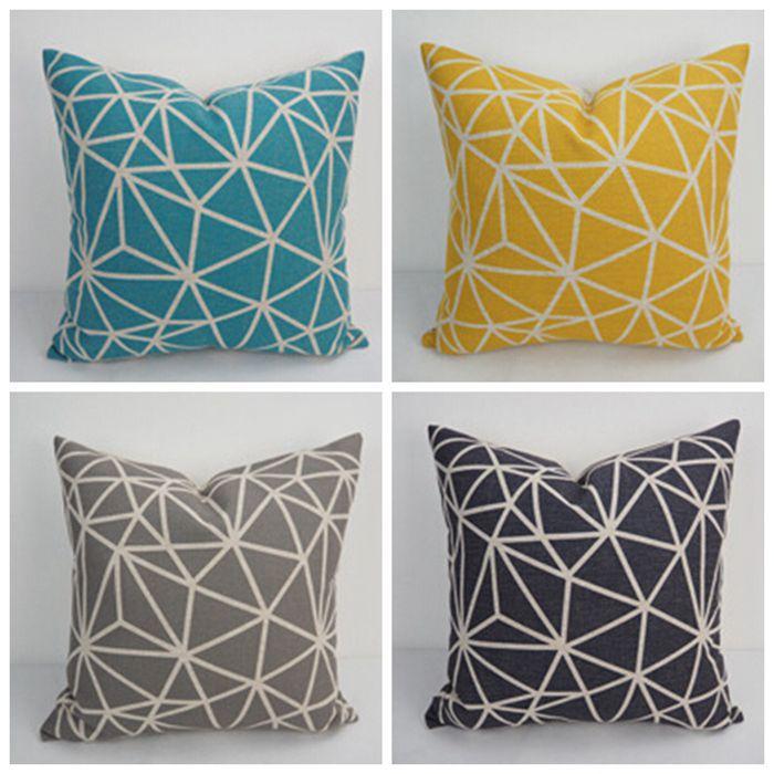 Buy grey black yellow blue geometric - Sofa de cojines ...