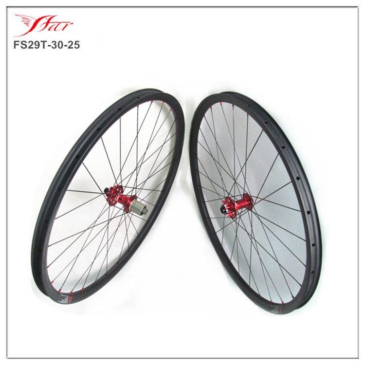 Far Sports Mountain bike wheels 29er MTB 30mmx25mm clincher carbon wheelset, with Novatec red disc hub Sapim D-light spoke Cheap
