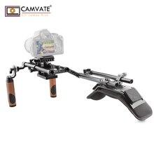 CAMVATE Soporte de hombro para cámara DSLR/videocámara, placa de montaje para trípode y placa de montaje, abrazadera de varilla Dual y empuñadura de mano