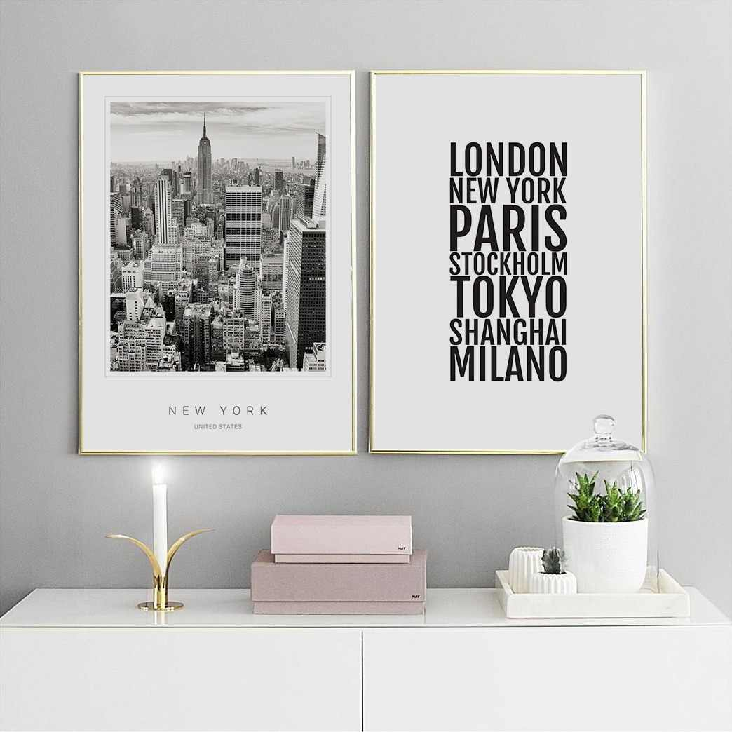 Scandinavian Decor New York Cities Poster Nordic Art Decor Posters and Prints Wall Picture for Living Room Wall Art Canvas Print