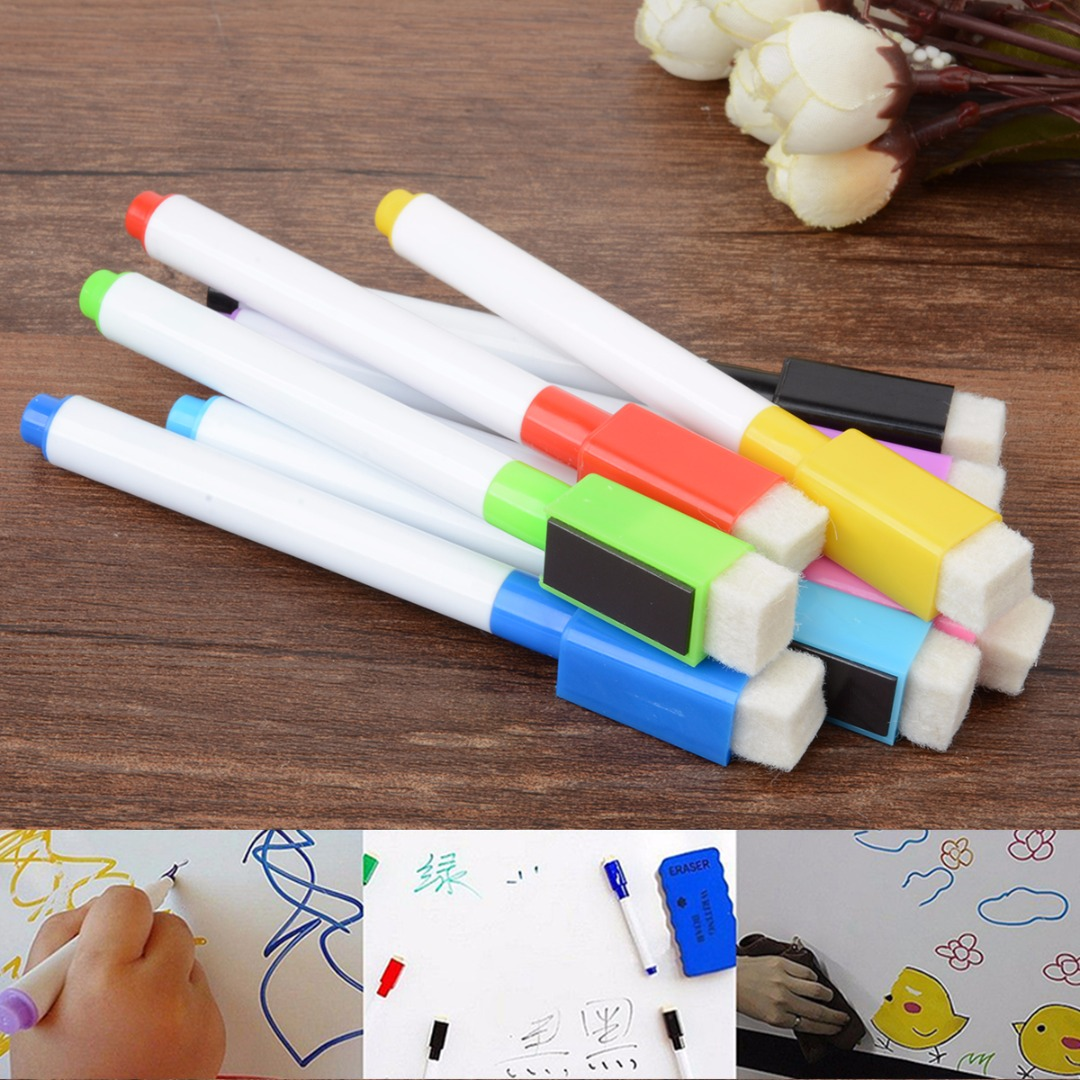 8 Colors Magnetic White Board Markers Pens Dry Erase Fine Point Built-in Eraser For Writing on Ceramics
