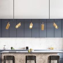 GOLD โคมไฟจี้ไฟ LED แขวน Spotlight โคมไฟ Nordic ออกแบบห้องรับประทานอาหารจี้โลหะแสงโคมไฟ