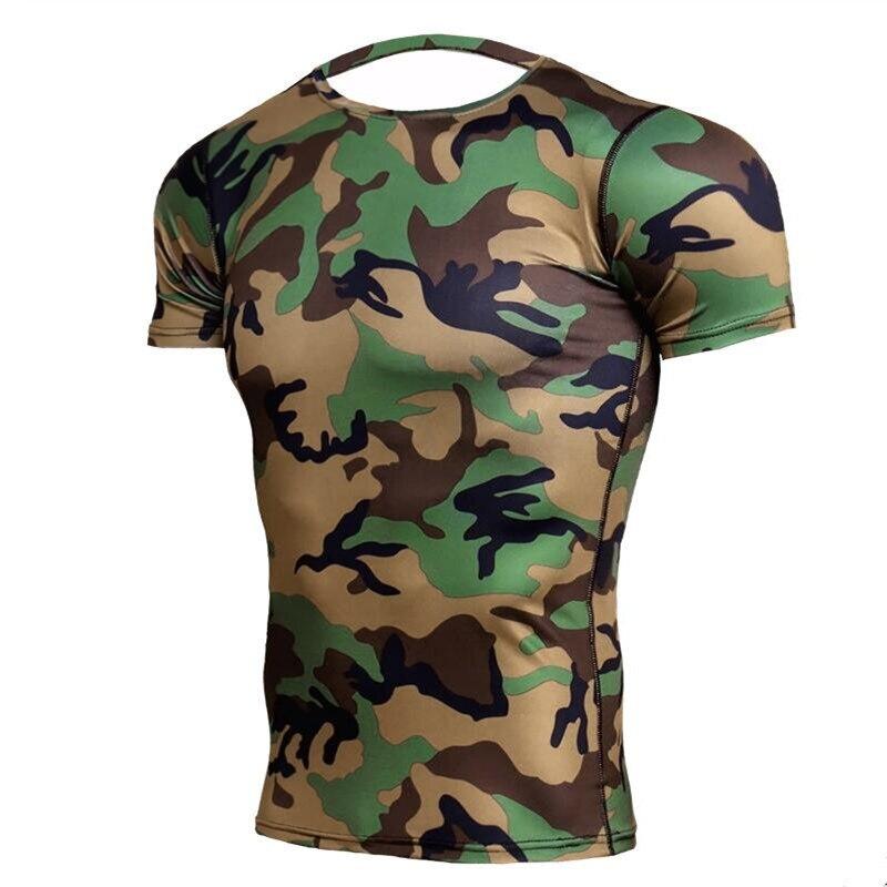 Army Green Camo T Shirts Men Crossfit Compression Shirt Short Sleeve GYMS T-Shirts MMA Rashguard Fitness Tshirt Brand Tees Tight
