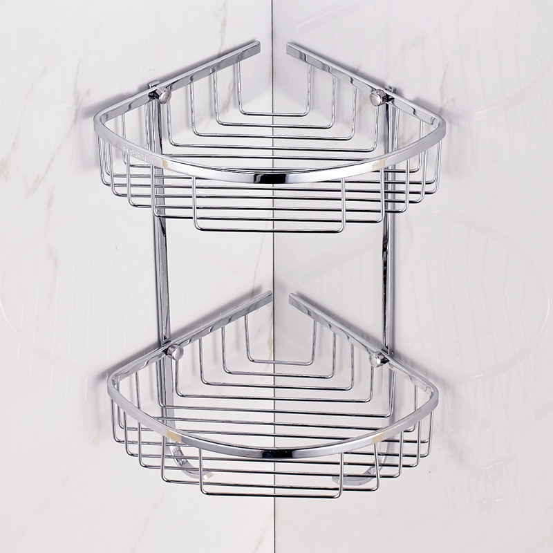 Chrome Finish Bathroom Shelves Corner Cosmetic Accessories Sus 304 Stainless Steel Shelf Rack Basket Wall Mounted Hq78