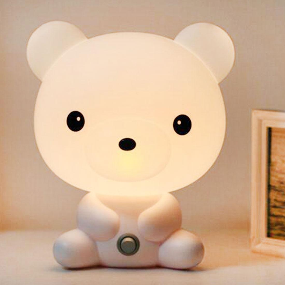EU Plug Baby Bedroom Lamps Night Light Cartoon Pets Rabbit Panda PVC Plastic Sleep Led Kid Lamp Bulb Nightlight for Children