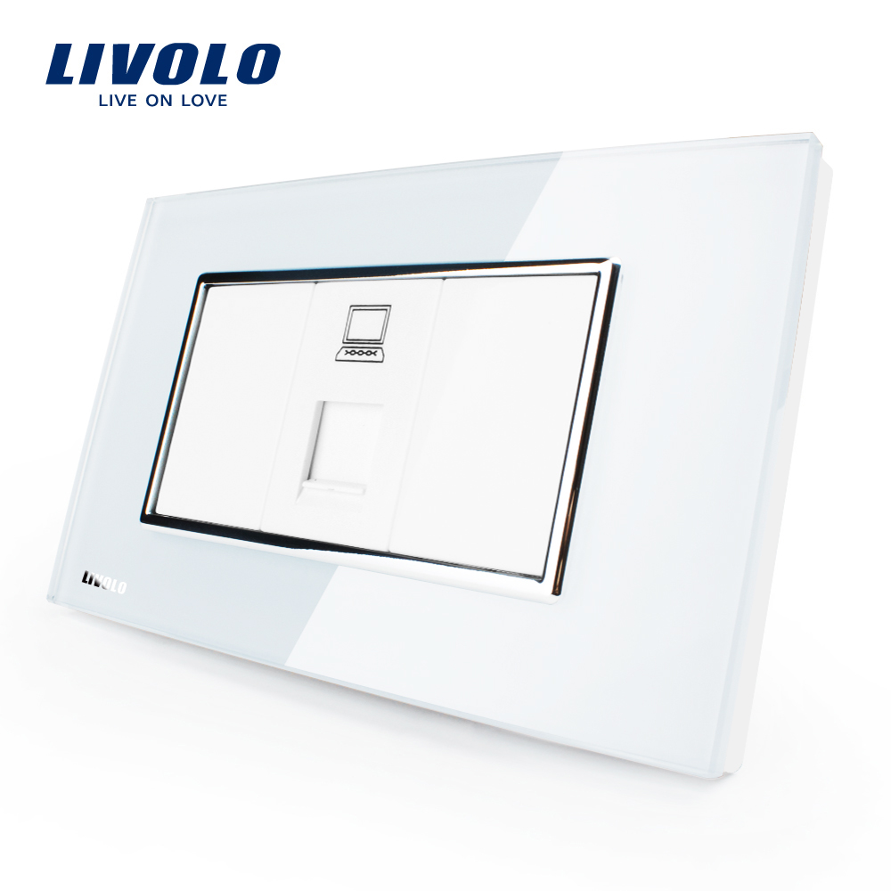 Livolo US/AU Standard Computer Socket With White/Black Pearl Crystal Glass, VL-C391C- 81/82 livolo us standard 2 pins socket white crystal glass 10a ac 125 230v wall powerpoints with plug vl c3c3a 81
