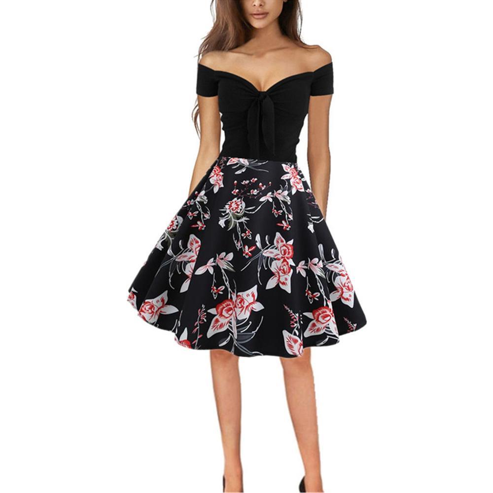 JAYCOSIN femmes robe grande taille Vintage robe d'été rétro hors épaule impression soirée fête bal balançoire robe noir Vestido z0201.