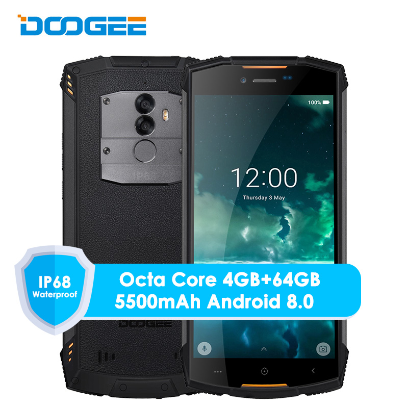 Original Doogee S55 4G LTE Dual Sim IP68 Smartphone Android 8,0 Octa Core 4G + 64G impermeable a prueba de golpes a prueba teléfono huella dactilar 5500 Mah