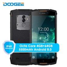 원래 doogee s55 4g lte 듀얼 sim ip68 스마트 폰 안 드 로이드 8.0 octa 코어 4g + 64g 방수 shockproof 전화 지문 5500 mah