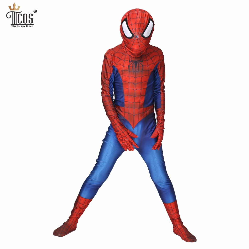 (2pieces/lot) Amazing Spiderman Cosplay Costume Spandex Lycra Zentai Suit Kid Spider-Man Party Bodysuit Halloween Costumes