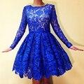 2016 Real Laço Azul Vestidos de Mangas Compridas Vestidos Curtos Graduação do Regresso A Casa Vestido Bonito Do Partido Vestidos Na Altura Do Joelho Doce 16 YY640
