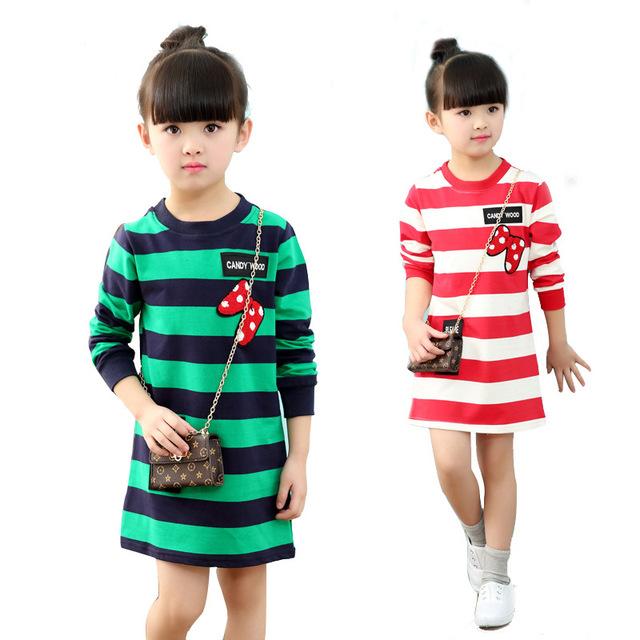 2017 nuevas muchachas de la venta caliente de la raya de la ropa de los niños sudaderas bebé clothing lindo de manga larga tops casuales niños de la niña