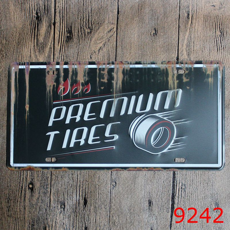 Direct selling Vintage license plate PREMIUM TIRES Wall art craft metal painting vintage Iron for bar home decor 15X30 CM