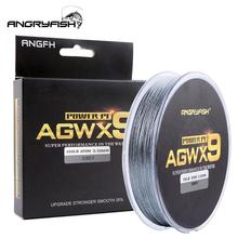 ANGRYFISH Fishing Line Diominate X9 PE 9 Strands Weaves Braided 300m/327yds Super Strong 15LB-100LB Gray