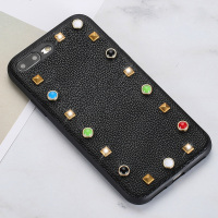 Luxury Genuine Leather Phone case For iPhone 7P cases Litchi texture rivet Ultra Thin back cover For 6 6S 7 8 Plus X 5 5S SE