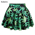 Elegant Flowers and Trees Pattern Skirts Summer High Waist Slim Women Saias Loose Printed Jupe Femme Fresh Style Mini Skirts
